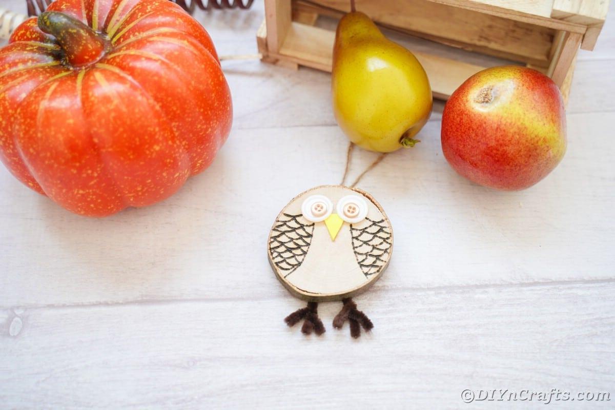 Coruja de fatia de madeira por mini abóbora falsa e peras na mesa branca