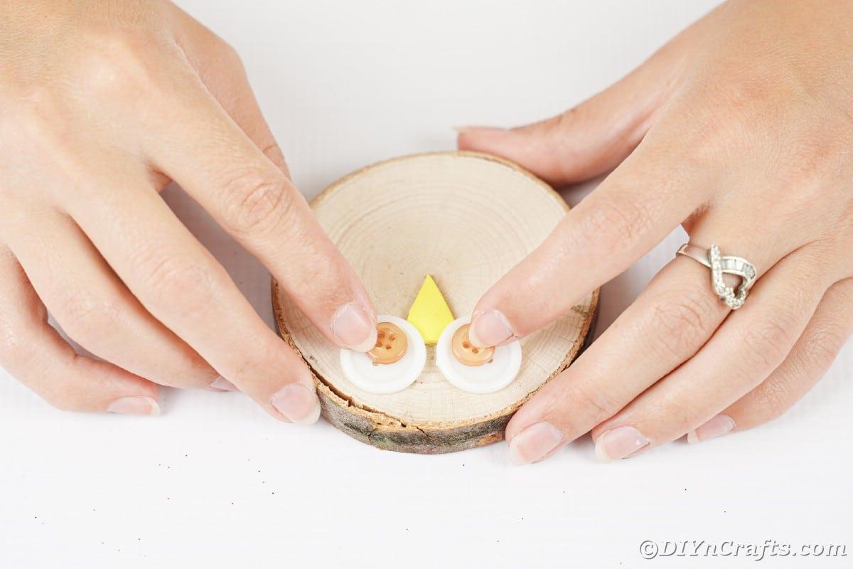 Mãos segurando botões em uma fatia de madeira criando olhos de coruja