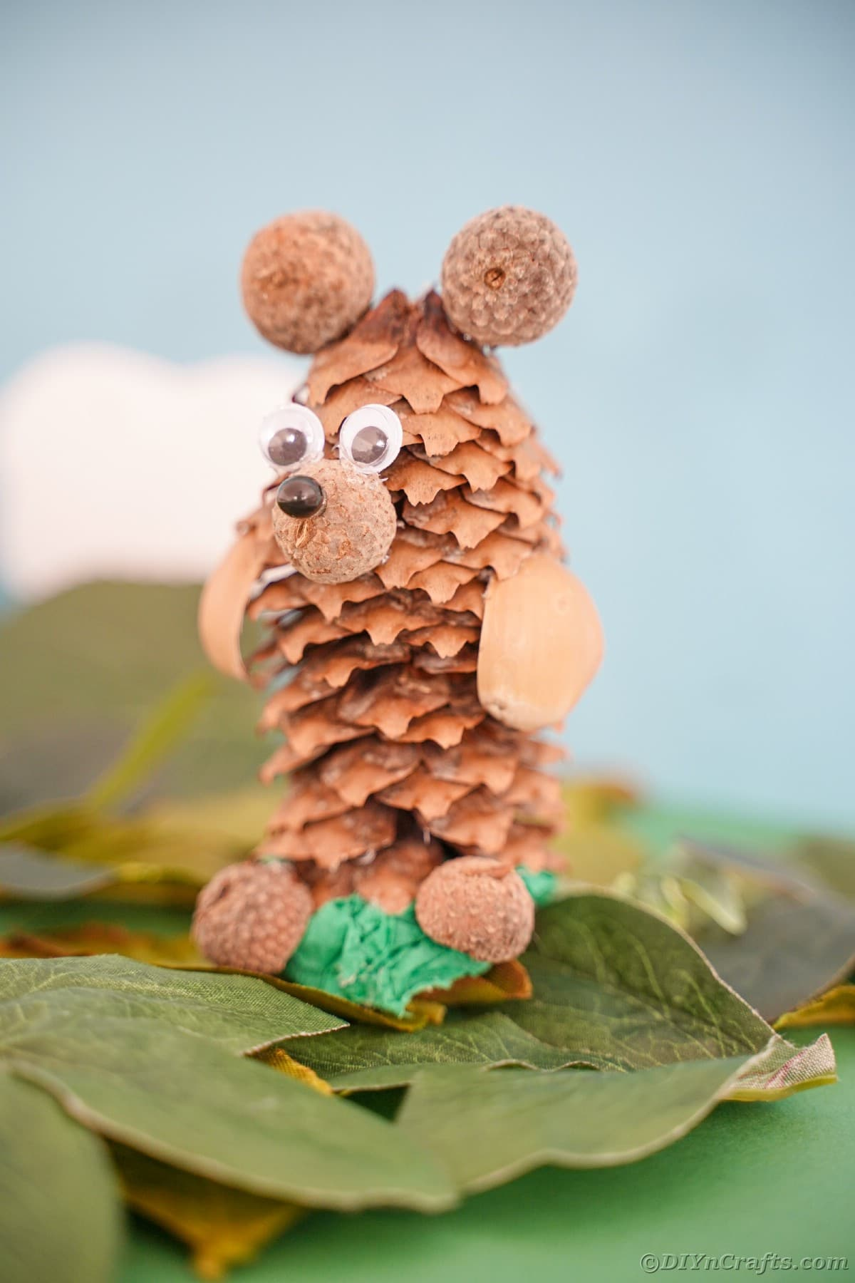 blue cloudy background behind pinecone bear