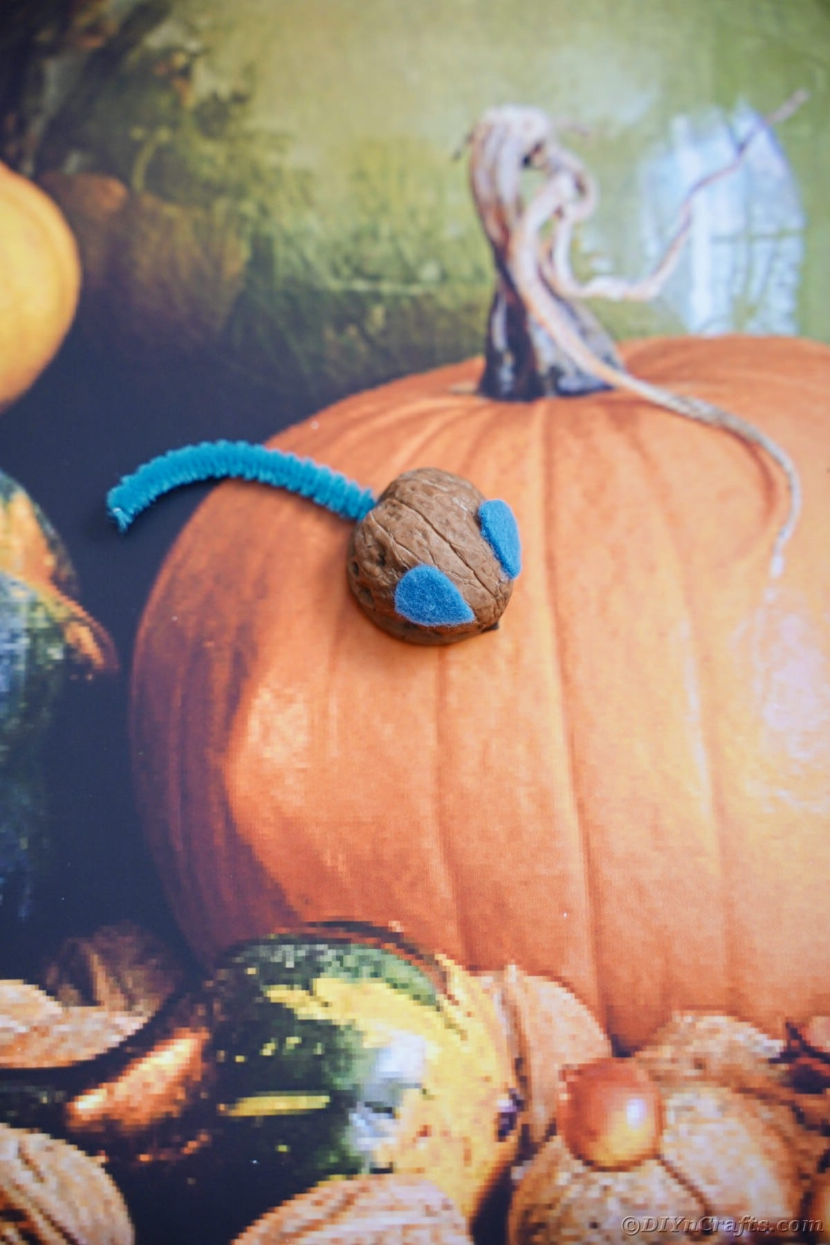 Walnut shell mouse on top of fall fabric