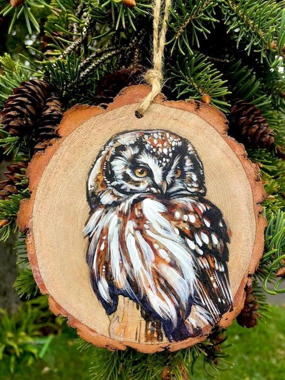 Boreal Owl Wood Tree Slice Ornament | Etsy