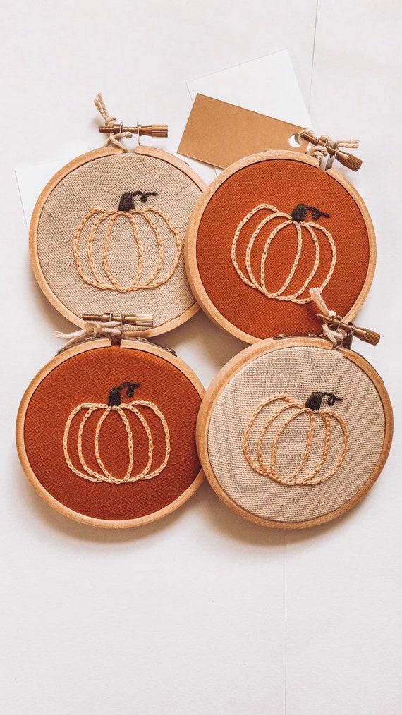 Mini embroidery hoop / Pumpkin embroidery / Seasonal decor   Etsy