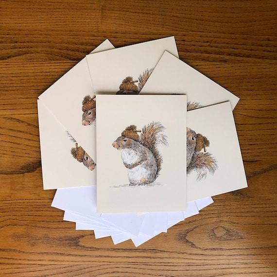 Acorn Hat Squirrel Card Boxed Set squirrel art stationery   Etsy