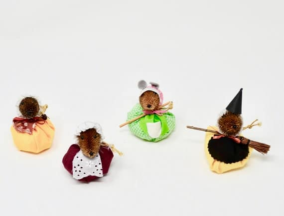 Vintage Handmade Pinecone Mice Ornaments Set of Four Puffy   Etsy