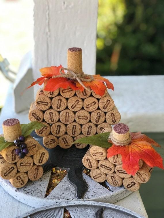 Set Of 3 Wine Cork Pumpkins