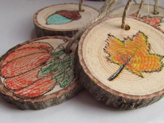 1 Fall Ornament Wood Slice Harvest Ornaments Fall Leaves   Etsy