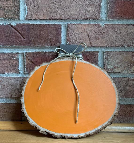 Painted Rustic Wood Slice Pumpkin   Etsy