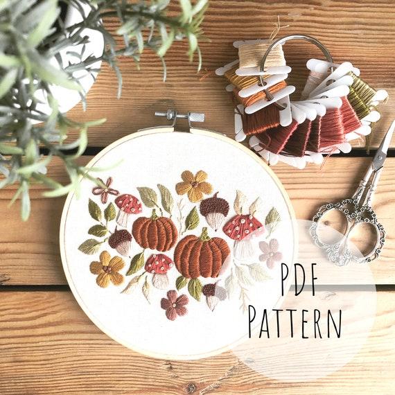 Pumpkin Falls    Embroidery Hoop Art PDF Pattern with Instructions    Digital Download