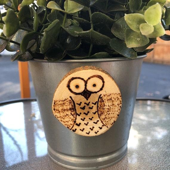Owl Wood Slice Magnet | Etsy