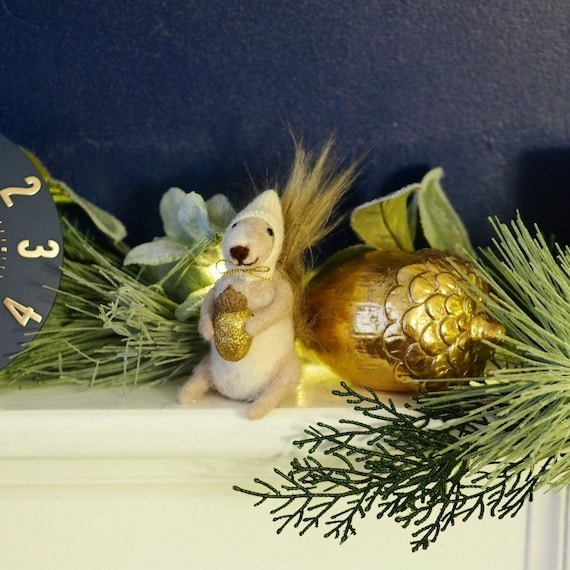 Squirrel with gold acorn autumn soft decoration   Etsy