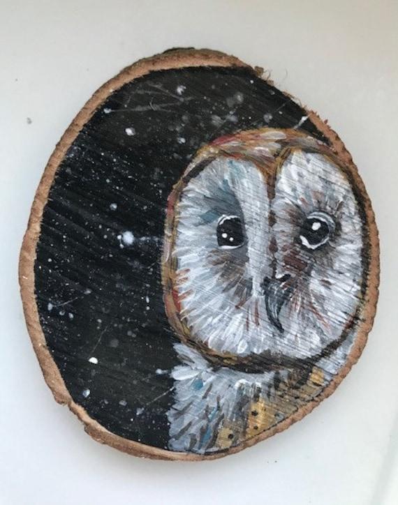 Hand painted barn owl wood slice | Etsy