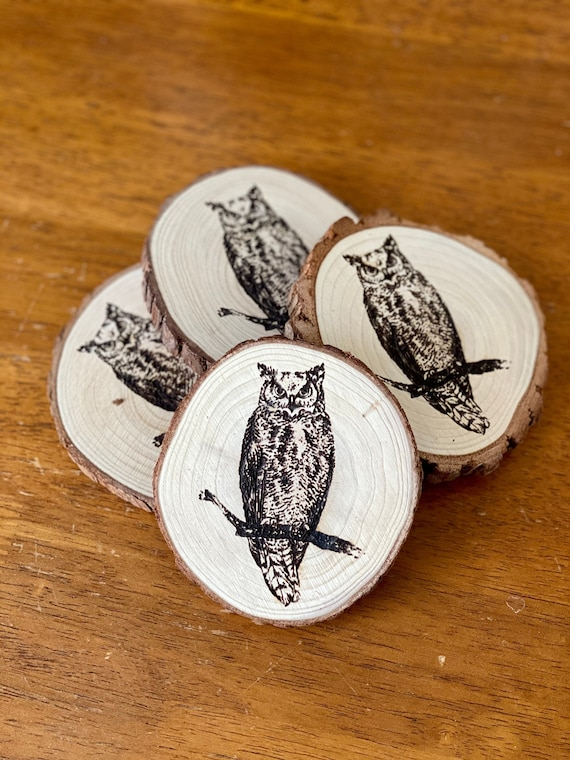 Owl Engraved Wood Coaster Set Perfect Gift for Wedding | Etsy