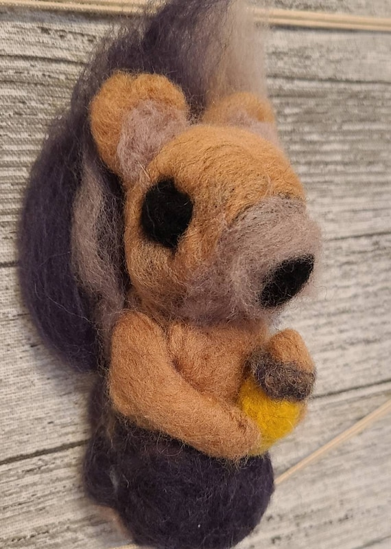 Needle felted squirrel with acorn approximately 5 inches tall   Etsy