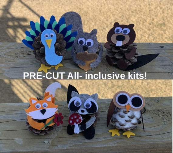 NEW!! PRE-CUT all inclusive felt Pine Cone Craft Kits for Kids. Blizzard the Snowy Owl, Percy the Peacock and all their woodland friends.