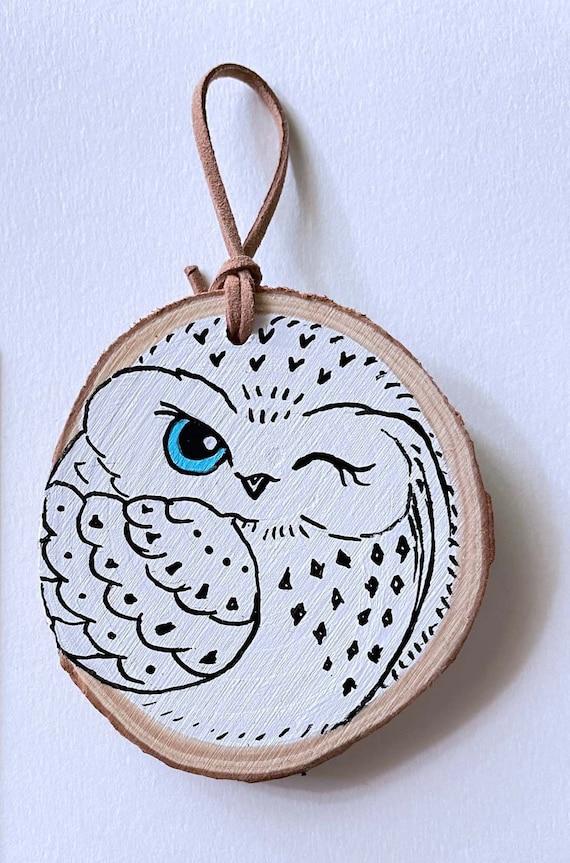 Owl Wood Slice Art/ Owl Lover Gift/ Folk Art Owl/Nursery Owl | Etsy