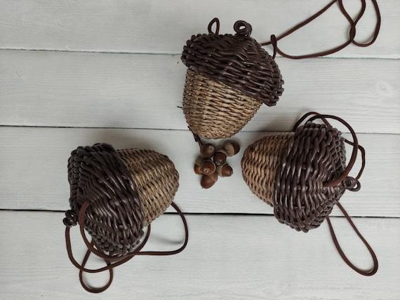 Small wicker acorn Woven basket for girl Rustic decor Autumn   Etsy