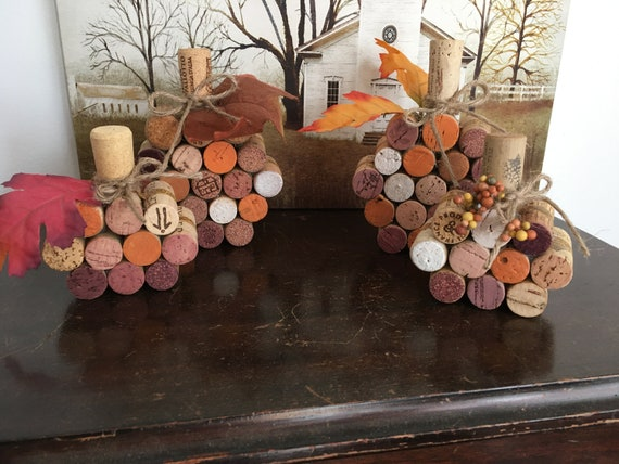 Wine cork pumpkins | Etsy