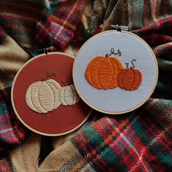 Autumn Pumpkin Hand Embroidery 6 Hoop - made to order