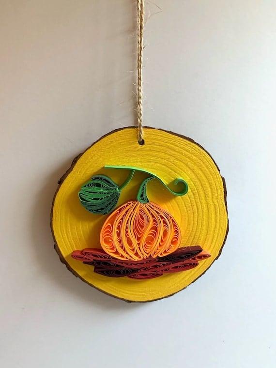 Pumpkin Quilling art on Natural Wood Slice Home Decor   Etsy