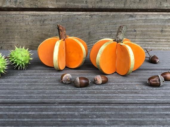 Rustic Wooden Pumpkin Handmade from Wood Slices Halloween   Etsy